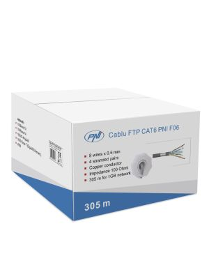 FTP cable CAT6 PNI F06 with 4 pairs for internet 1 Gigabit and surveillance systems Rola 305m