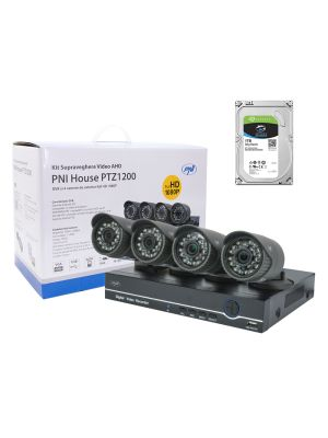 Video surveillance kit PNI House PTZ1200 Full HD with HDD 1Tb included - DVR and 4 external cameras